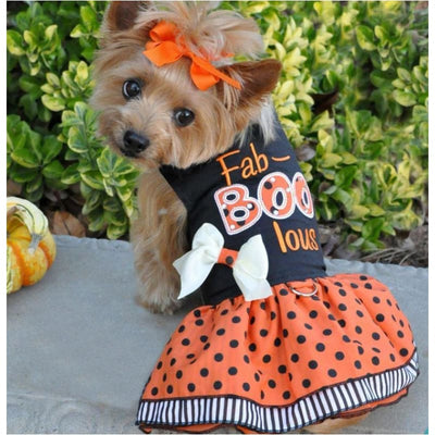Halloween Fab-BOO-Lous Harness Dress With Matching Leash clothes for small dogs, cute dog apparel, cute dog clothes, cute dog dresses, dog