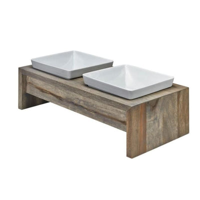 - Artisan Double Wood Dog Feeder Fossil
