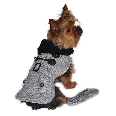 Grey Herringbone Wool Dog Coat With Leash clothes for small dogs, COATS, cute dog apparel, cute dog clothes, dog apparel