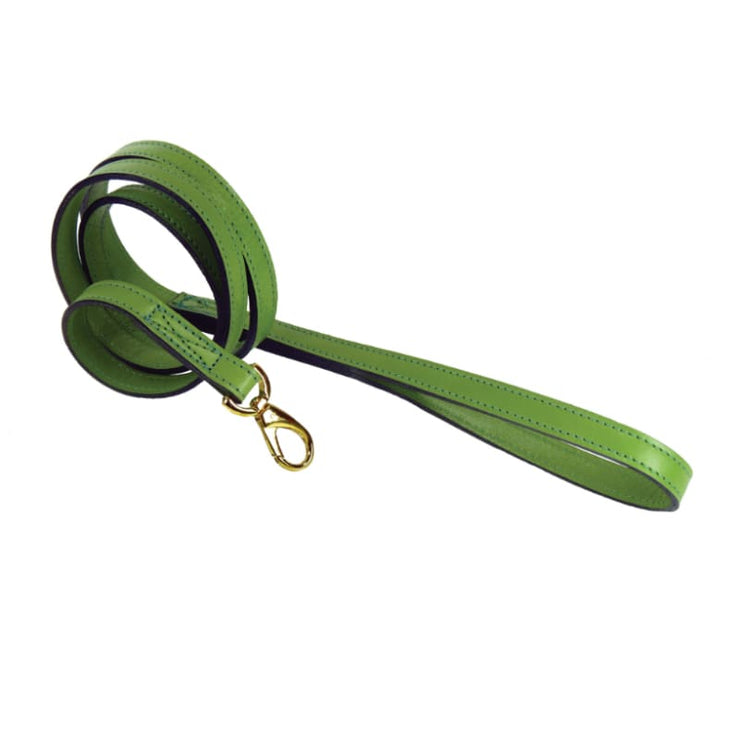 - Colony Club Italian Leather Dog Collar In Lime Green