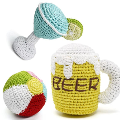 - Happy Hour Crochet Squeaker Dog Toy Collection NEW ARRIVAL