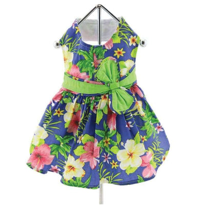 - Blue Lagoon Hawaiian Hibiscus Dog Dress With Matching Leash New Arrival