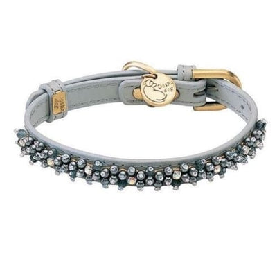 - Mini Beaded Hematite Genuine Leather Gray Dog Collar NEW ARRIVAL