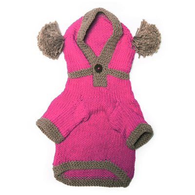 - The Taylor - Pink Hand Knit Dog Hoodie