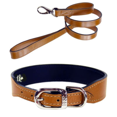 Italian Leather Dog Collar in Natural Tan & Nickel