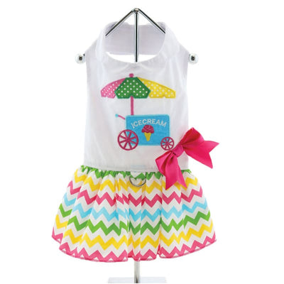 - Ice Cream Cart Dog Dress With Matching Leash New Arrival