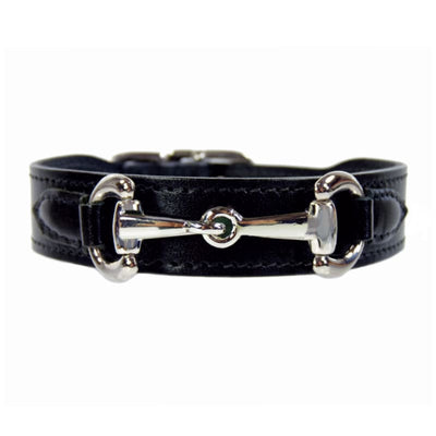 - Belmont Italian Leather Dog Collar In Jet Black & Nickel