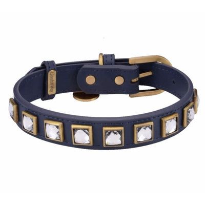 Monte Carlo Navy Genuine Leather Dog Collar NEW ARRIVAL