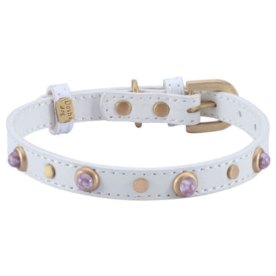 Mini Boho Turquoise Genuine Leather White Dog Collar bling dog collars, cute dog collar, dog collars, fun dog collars, leather dog collars