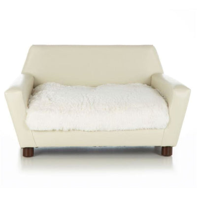 - Orthopedic Shaggy Ivory and Ivory Faux Leather Mid-Century Dog Chair NEW ARRIVAL