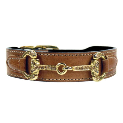 - Horse & Hound Italian Leather Dog Collar in Natural genuine leather dog collars HARTMAN & ROSE luxury dog collars