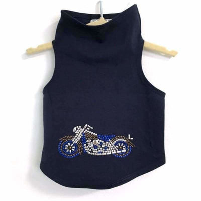 Blue Motorcycle Dog Tank Top clothes for small dogs, cute dog apparel, cute dog clothes, dog apparel, dog sweaters