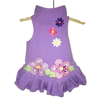 Purple Flower Power Dog Flounce Dress clothes for small dogs, cute dog apparel, cute dog clothes, cute dog dresses, dog apparel