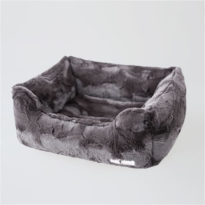 Luxe Dog Bed in Pewter bolster beds for dogs, luxury dog beds, memory foam dog beds, orthopedic dog beds