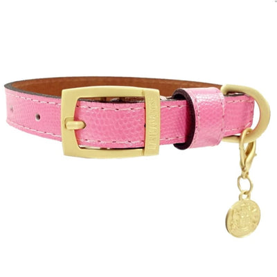 - Park Avenue Italian Leather Dog Collar In Bubblegum Pink