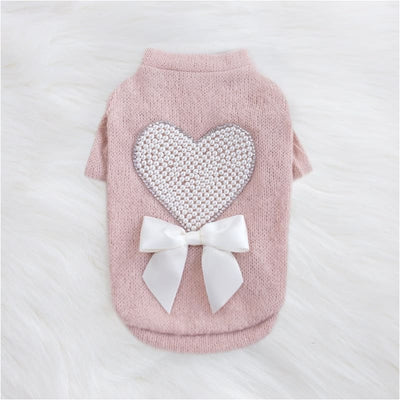 - Pearl Heart Dog Sweater NEW ARRIVAL