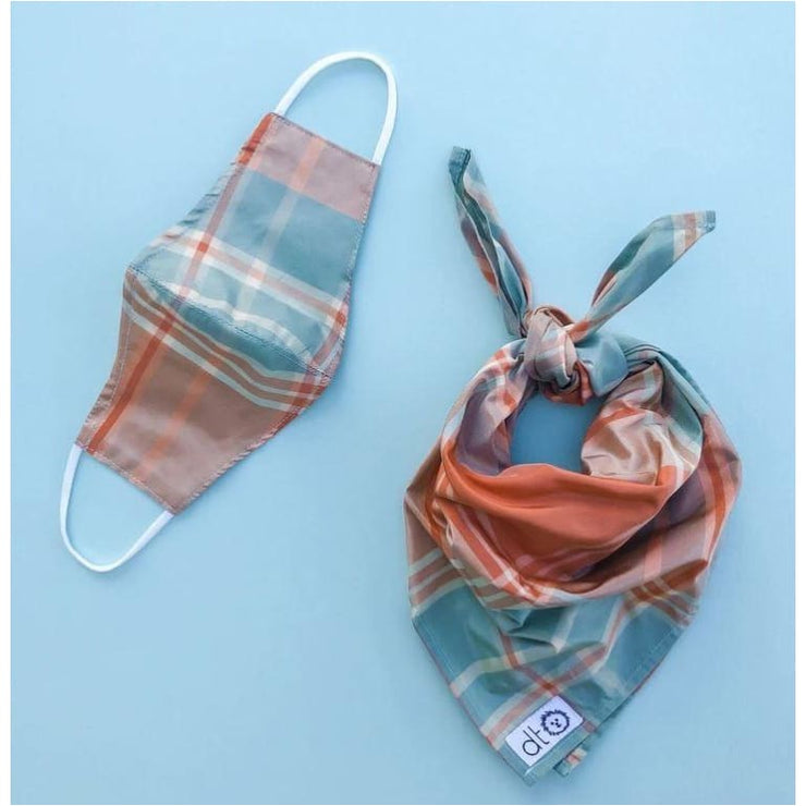 Madras Plaid Silk Mask with Matching Dog Bandana NEW ARRIVAL