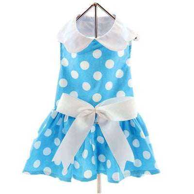- Blue Polka Dot Dress With Matching Leash New Arrival