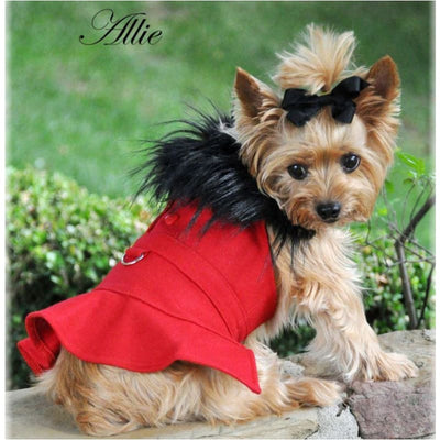 Red Wool Fur-trimmed Dog Coat Harness and Matching Leash clothes for small dogs, COATS, cute dog apparel, cute dog clothes, dog apparel
