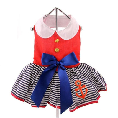 - Sailor Girl Dress With Matching Leash clothes for small dogs cute dog apparel cute dog clothes cute dog dresses dog apparel