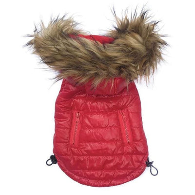 - Red Ski Bunny Puffer Dog Coat with Detachable Hood