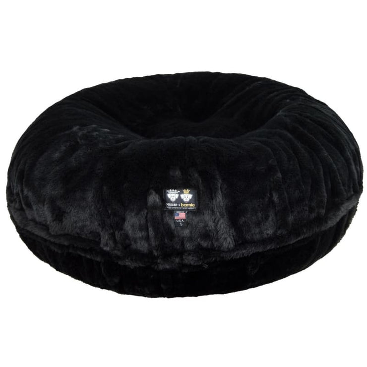 Black Panther Shag Bagel Bed BAGEL BEDS, bagel beds for dogs, BEDS, cute dog beds, donut beds for dogs
