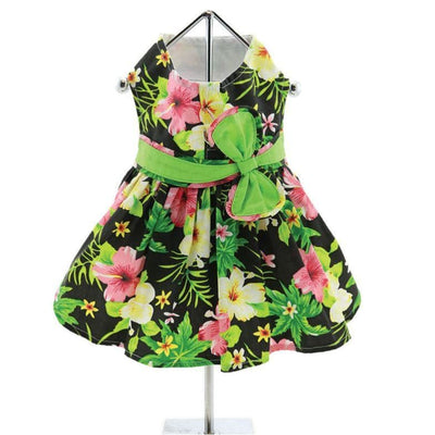Twilight Black Hawaiian Hibiscus Dress With Matching Leash clothes for small dogs, cute dog apparel, cute dog clothes, cute dog dresses, dog