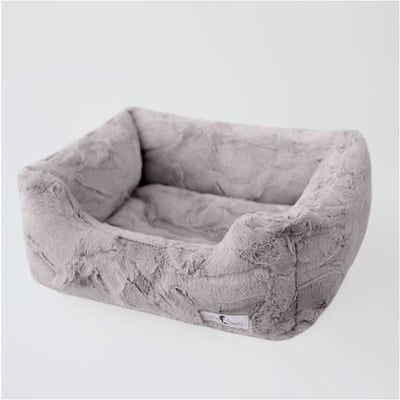 Luxe Dog Bed in Taupe bolster beds for dogs, luxury dog beds, memory foam dog beds, orthopedic dog beds