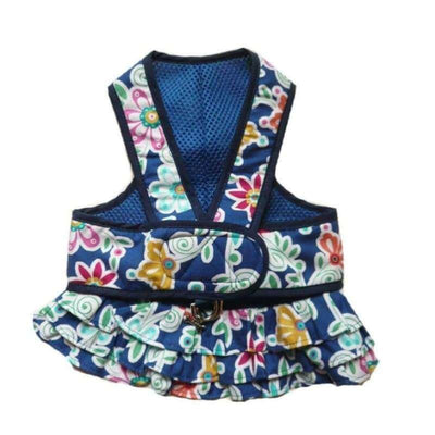 2-Piece Blue Floral Step-N-Go Harness Dress clothes for small dogs, cute dog apparel, cute dog clothes, cute dog dresses, dog apparel