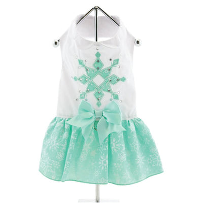 - Turquoise Crystal Dog Dress With Matching Leash New Arrival