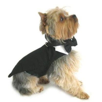 Wedding Tuxedo Black w/Tails D-Ring and Bowtie Collar
