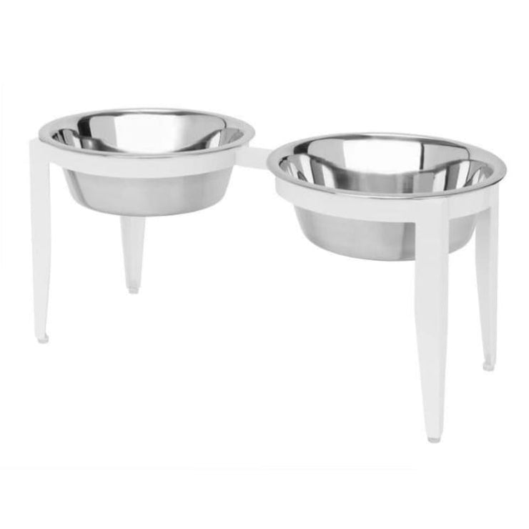 - Vision Indoor Outdoor Double Diner Raised Dog Feeder White NEW ARRIVAL