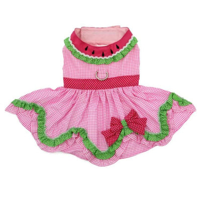 Watermelon Dog Dress With Matching Leash clothes for small dogs, cute dog apparel, cute dog clothes, cute dog dresses, dog apparel