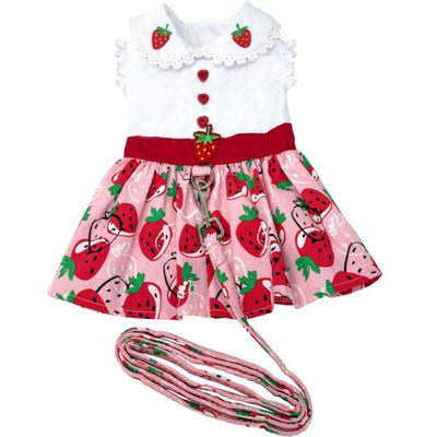Strawberry Picnic Dress With Matching Leash clothes for small dogs, cute dog apparel, cute dog clothes, cute dog dresses, dog apparel