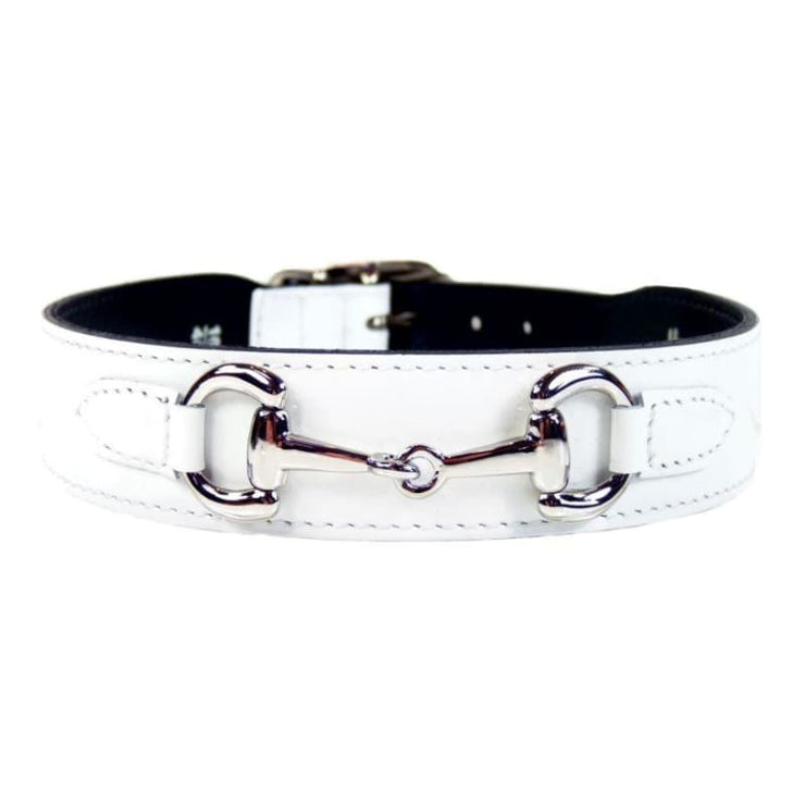 - Belmont Italian Leather Dog Collar In White Patent & Nickel