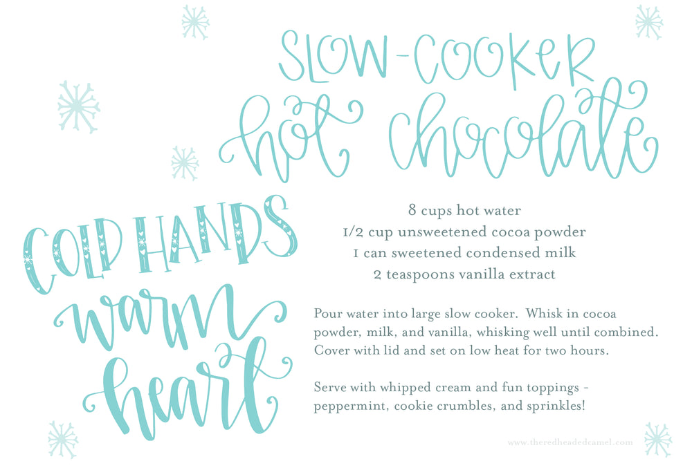 Hot Chocolate Recipe Freebie