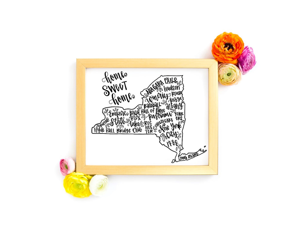New York State 8 x 10 Hand Lettered Printable