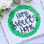 Home Sweet Home Boxwood Wreath Painting