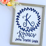 Monogram Family Names Wood Sign