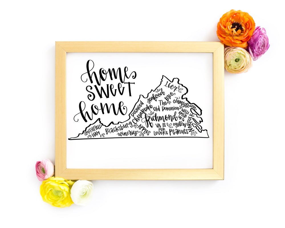 Virginia Home Sweet Home Hand Lettered 8 x 10 Printable