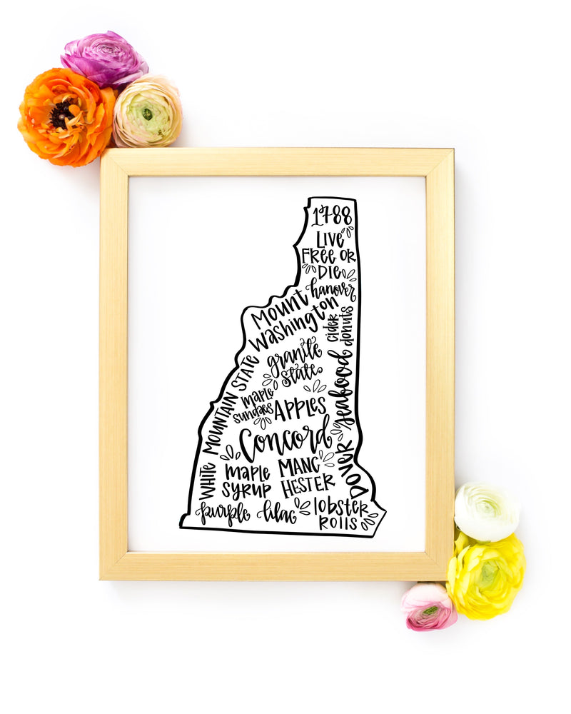 New Hampshire 8 x 10 Hand Lettered Printable