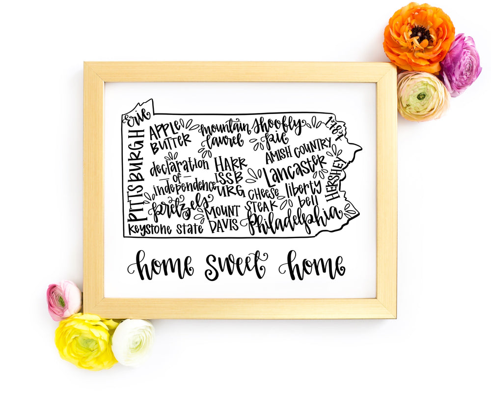 Pennsylvania 8 x 10 Hand Lettered Printable