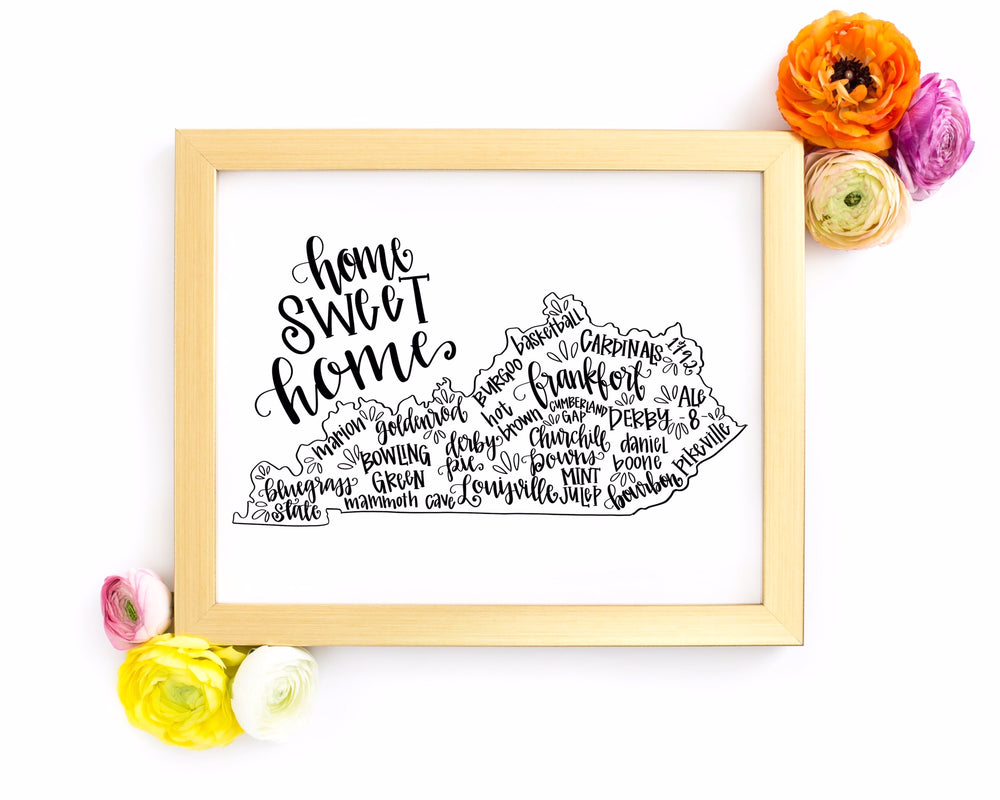 Kentucky 8 x 10 Hand Lettered Printable Art