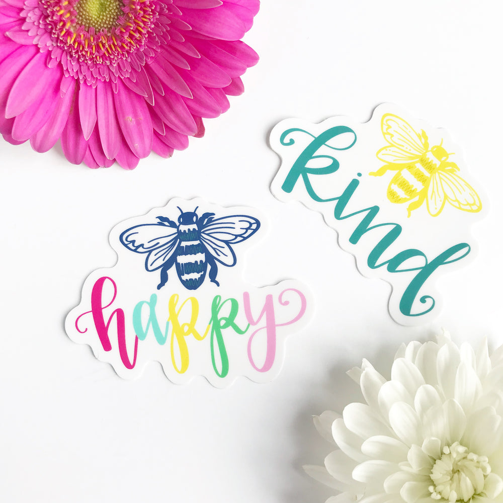 Be Kind + Be Happy Stickers