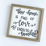 Love and Endless Laundry Rustic Wood Sign