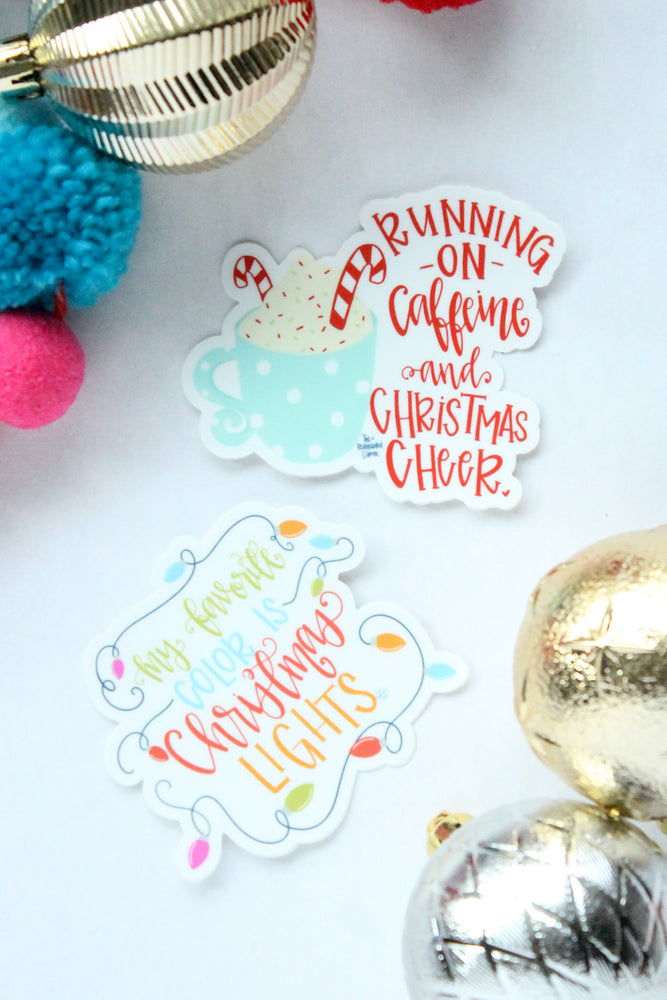 Caffeine and Christmas Cheer Sticker