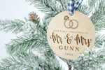 Engraved Custom Mr. and Mrs. Ornament