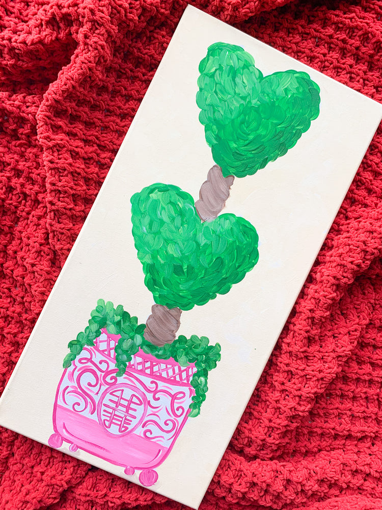 Valentine Topiary Chinoserie Painting