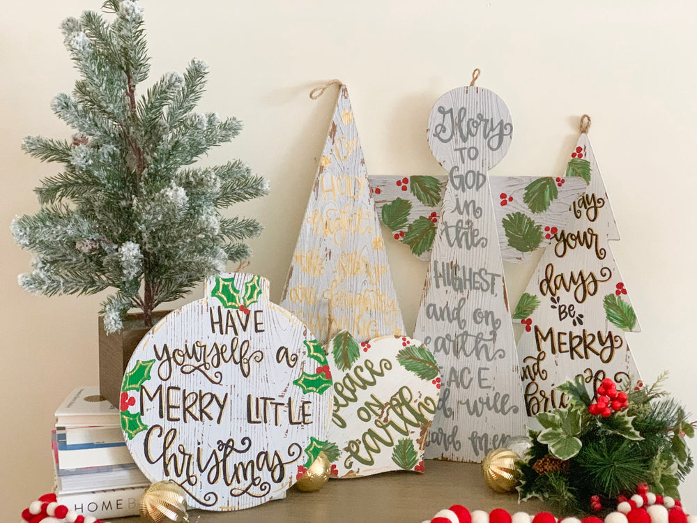 Personalized Merry Little Christmas Round Wood Ornament