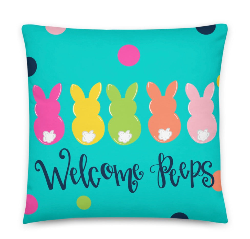 Welcome Peeps Throw Pillow